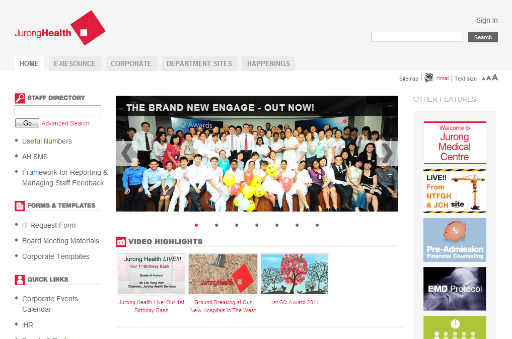 Jurong Health Services Intranet Portal Image 9
