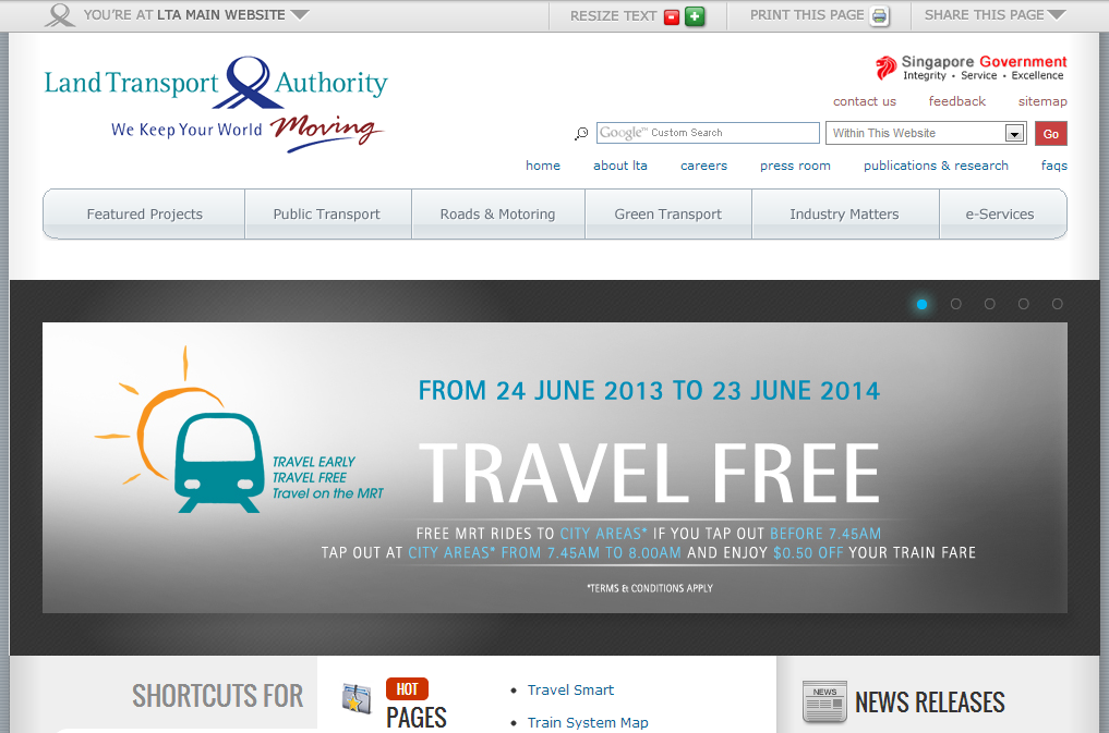 Land Transport Authority Corporate Website Image 4
