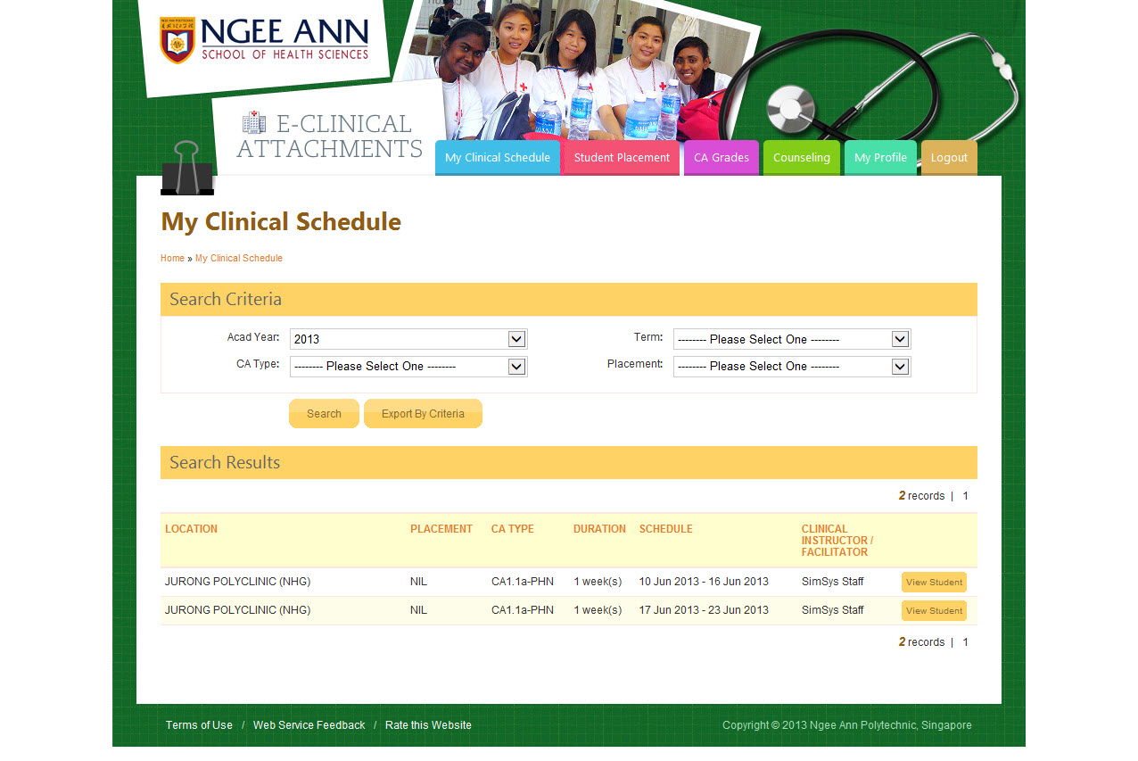 Ngee Ann Polytechnic - Clinical Posting Management System Image 10