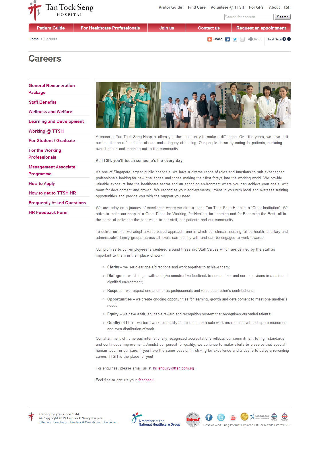 Tan Tock Seng Hospital Corporate Website Image 1